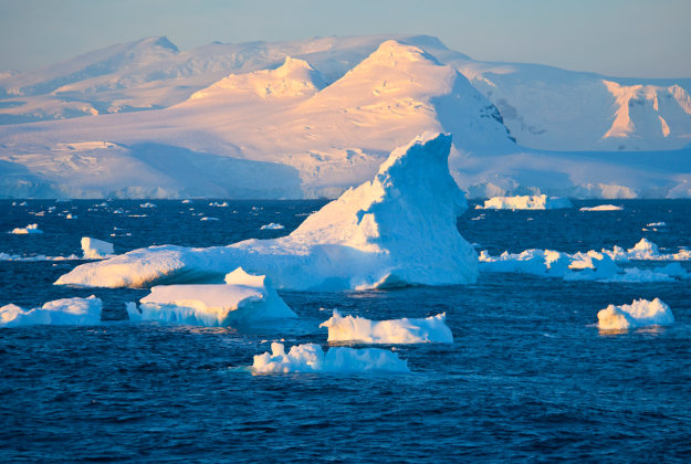 Icebergs floating of Antarctic Peninsula.